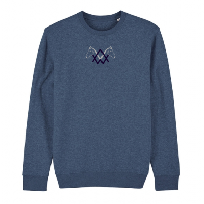 Header navy coaching with horses sweater men