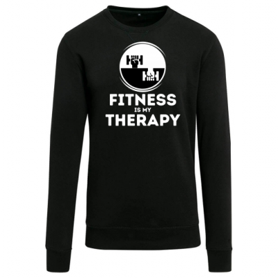 Fitness Therapy Big White on Black Sweatshirt